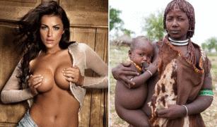 sexy Frau mit runden Brüsten und eine etiopische Mutter mit stillendem Kind auf dem Arm