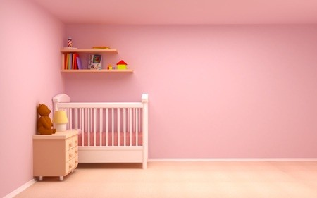 Kinderzimmer mit Gitterbett