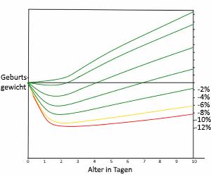 Grafik mit verschiedenen Gewichtsverläufen